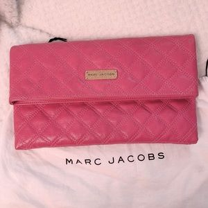 Marc Jacobs Quilted Foldover  Leather Clutch, Pink